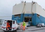Je acht Fahrer bringen sie extra niedrig gebauten Hafenshuttles wieder zurück ins Schiff zu den Autos.